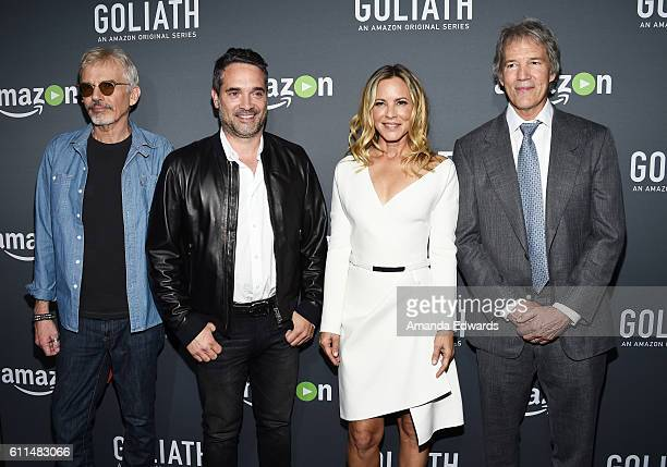 Actor Billy Bob Thornton Amazon Studios Head of Drama Series Morgan Wandell actress Maria Bello and writer/executive producer David E Kelley arrive...