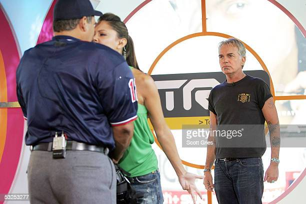 Actor Billy Bob Thornton watches as VJ Vanessa Minnillo yells at an umpire during MTV's Total Request Live at the MTV Times Square Studios July 18...