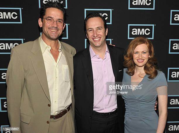 Actor Billy Campbell AMC President Charlie Collier and actress Mireille Enos arrive to The Killing AMC TCA Panel at the Langham Hotel on January 7...