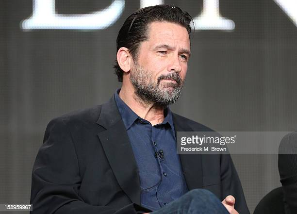 Actor Billy Campbell speaks onstage during the Killing Lincoln panel discussion at the National Geographic Channels portion of the 2013 Winter TCA...