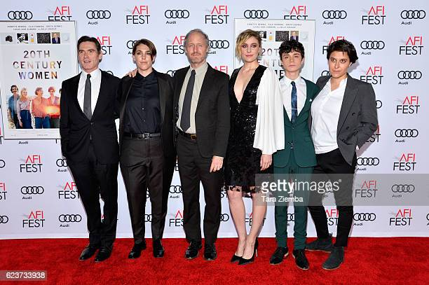 Actor Billy Crudup producer Megan Ellison director Mike Mills actress Greta Gerwig actor Lucas Jad Zumann and executive producer Chelsea Barnard...