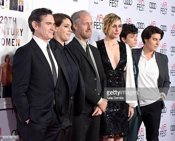 Actor Billy Crudup producer Megan Ellison director Mike Mills actress Greta Gerwig actor Lucas Jad Zumann and executive producer Chelsea Barnard...
