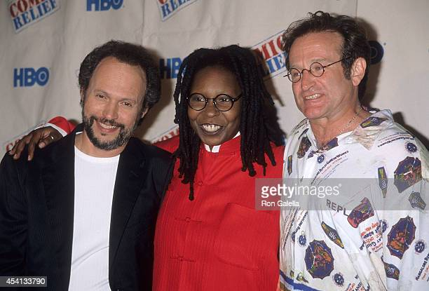 Actor Billy Crystal actress Whoopi Goldberg and actor Robin Williams attend the HBO Television Special Comic Relief VIII to Benefit America's...