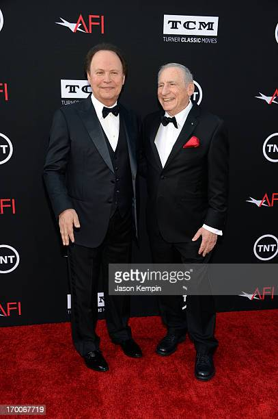 Actor Billy Crystal and honoree Mel Brooks attend AFI's 41st Life Achievement Award Tribute to Mel Brooks at Dolby Theatre on June 6 2013 in...
