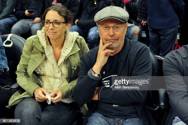 Actor Billy Crystal attends a basketball game between the Los Angeles Clippers and the Oklahoma City Thunder at Staples Center on January 4 2018 in...