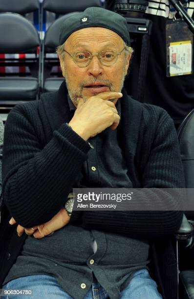Actor Billy Crystal attends a basketball game between the Los Angeles Clippers and the Denver Nuggets at Staples Center on January 17 2018 in Los...