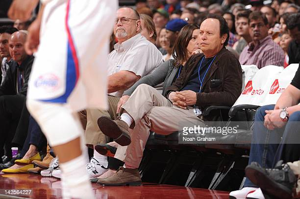 Actor Billy Crystal looks on during a game between the Sacramento Kings and the Los Angeles Clippers at Staples Center on April 7 2012 in Los Angeles...