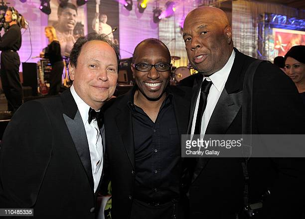 Actor Billy Crystal musician Greg Phillinganes and photographer Howard Bingham attends Muhammad Ali's Celebrity Fight Night XVII at JW Marriot Desert...