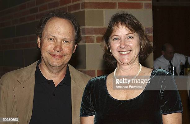 Actor Billy Crystal poses with Buster Keaton's granddaughter Melissa Talmadge Cox at the 15th Anniversary of the Los Angeles Chamber Orchestra's...