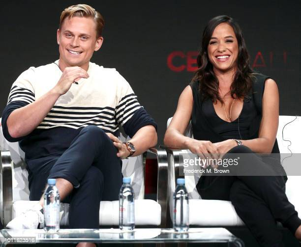 Actor Billy Magnussen and actress Dania Ramirez of the television show 'Tell Me a Story' speak during the CBS segment of the Summer 2018 Summer...