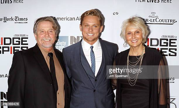 Actor Billy Magnussen with his parents attend the 53rd New York Film Festival premiere of Bridge Of Spies at Alice Tully Hall Lincoln Center on...