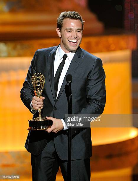 Actor Billy Miller accepts the Best Supporting Actor In A Drama Series Award onstage at the 37th Annual Daytime Entertainment Emmy Awards held at the...