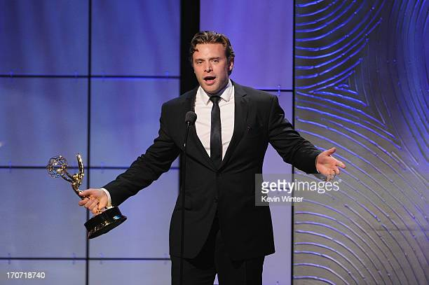 """Actor Billy Miller accepts the Outstanding Supporting Actor in a Drama Series award for """"The Young and the Restless"""" onstage during The 40th Annual..."""