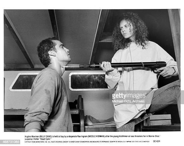 Actor Billy Zane and actress Nicole Kidman on the set of the Warner Bros movie 'Dead Calm' circa 1989