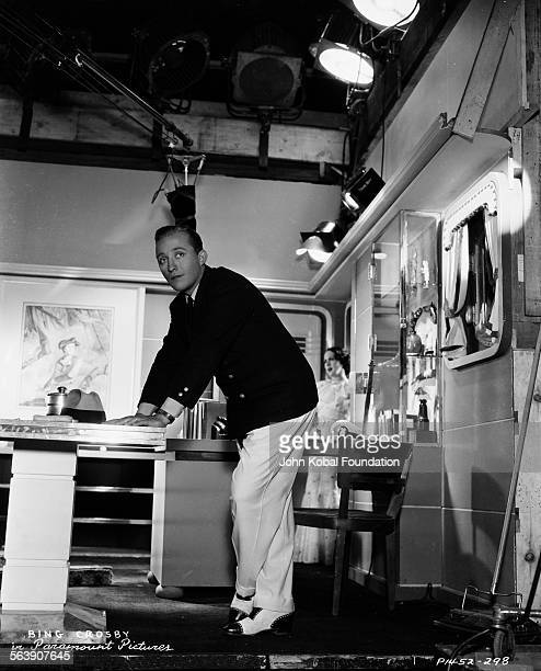 Actor Bing Crosby on a film set, for Paramount Pictures, 1935.