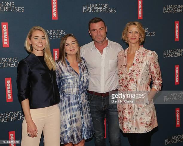 Actor Birgitte Hjort Sorensen director Josie Rourke actors Liev Schreiber and Janet McTeer attend the Les Liaisons Dangereuses cast call at The New...