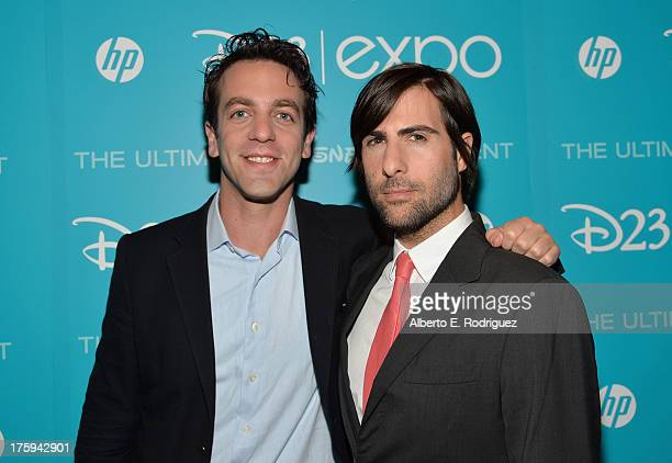 Actor BJ Novak and actor Jason Schwartzman of Saving Mr Banks attend Let the Adventures Begin Live Action at The Walt Disney Studios presentation at...