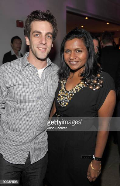 Actor B.J. Novak and actress Mindy Kaling attend the Entertainment Weekly and Women in Film pre-Emmy Party presented by Maybelline Colorsensational...