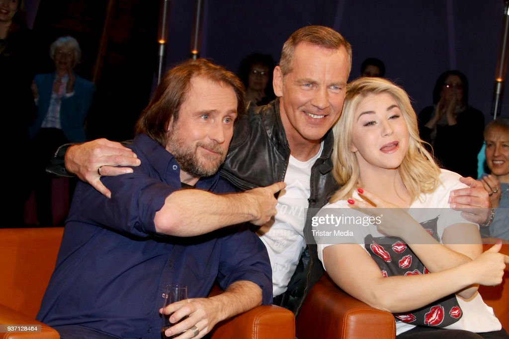 Actor Bjarne Maedel, Former German boxing champion Henry Maske and swiss singer Beatrice Egli during the NDR Talk Show on March 23, 2018 in Hamburg, Germany.