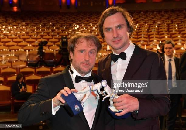 Actor Bjarne Mädel and Lars Eidinger attend the Bayerischer Filmpreis 2020 at Prinzregententheater on January 17 2020 in Munich Germany