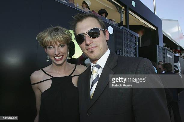 Actor Blair McDonough and Ellen Farlay attend the Melbourne Cup Carnival's Derby Day in the Moet et Chandon marquee at Flemington October 30 2004 in...