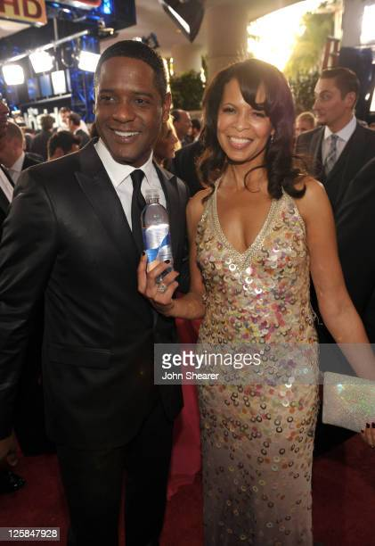 Actor Blair Underwood and Desiree DaCosta pose with smartwater at the 68th Annual Golden Globe Awards held at The Beverly Hilton hotel on January 16...