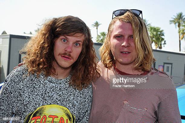 Actor Blake Anderson and musician Ty Segall attend day 2 of the 2014 Coachella Valley Music Arts Festival at the Empire Polo Club on April 12 2014 in...