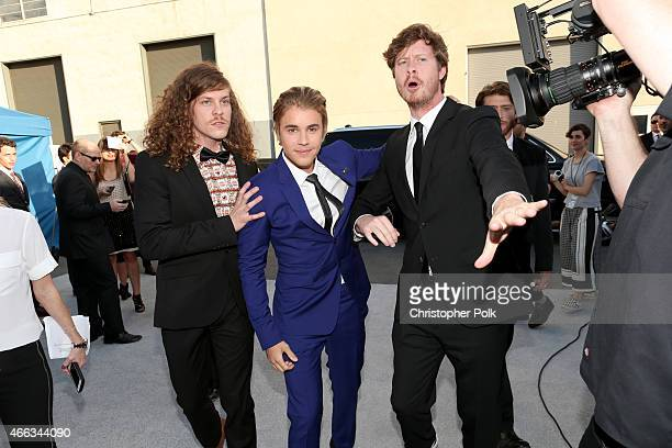 Actor Blake Anderson honoree Justin Bieber and actor Anders Holm attend The Comedy Central Roast of Justin Bieber at Sony Pictures Studios on March...