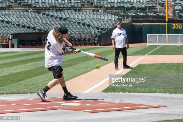 Actor Blake Anderson plays in Water For Life Charity Softball Game at OaklandAlameda County Coliseum on June 23 2018 in Oakland California