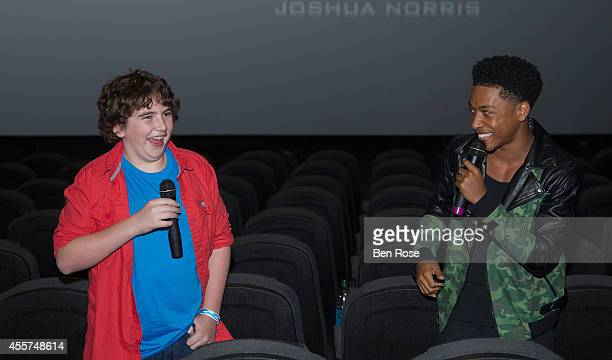 Actor Blake Cooper and actor and recording artist Jacob Latimore conduct a question and answer session after a screening of THE MAZE RUNNER at Regal...