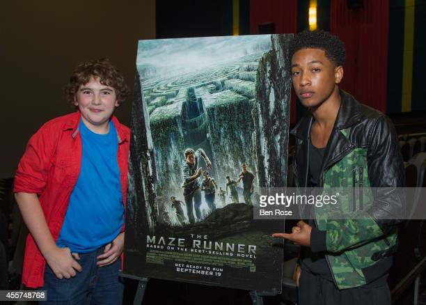 Actor Blake Cooper and actor and recording artist Jacob Latimore attend a screening of THE MAZE RUNNER at Regal Atlantic Station on September 19 2014...