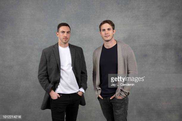 Actor Blake Jenner and reallife subject Charles Allen from the film 'American Animals' are photographed for Los Angeles Times on January 23 2018 in...