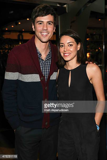 Actor Blake Lee and actress Aubrey Plaza attend the premiere party for the cast of ABC's new sitcom MIXOLOGY at Mixology101 Planet Dailies on...