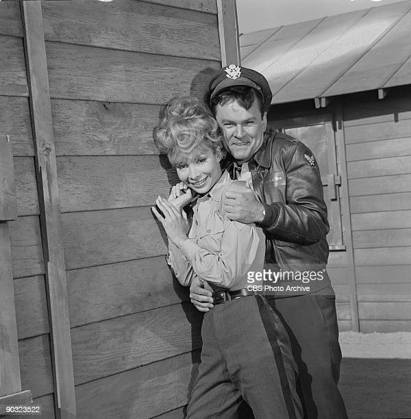 Actor Bob Crane as Col Robert E Hogan and Arlene Martel as Tiger in Hold That Tiger an episode from the CBS television series 'Hogan's Heroes' July 1...