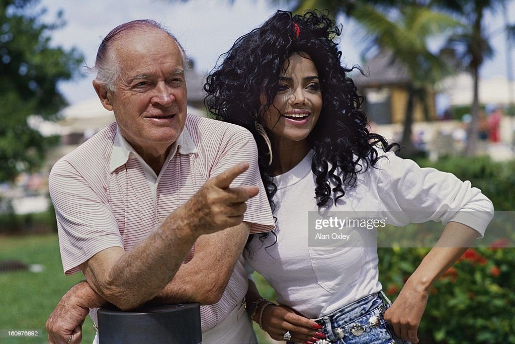 Actor Bob Hope and singer La Toya Jackson on Cable Beach (Nassau) The Bahamas while filming an Easter TV program in March, 1989.