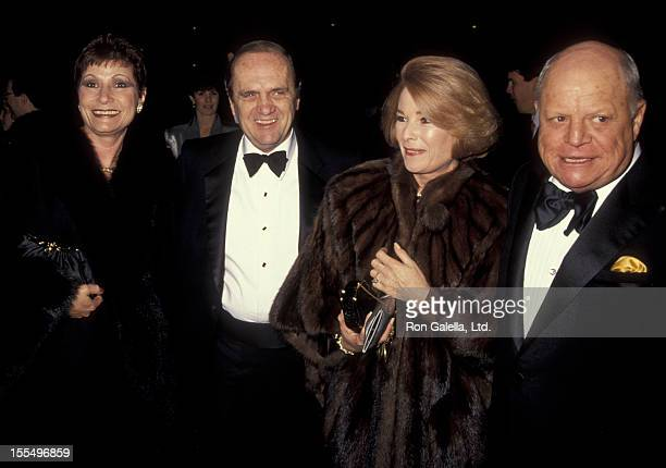 Actor Bob Newhart and wife Ginny Newhart and comic Don Rickles and wife attend the premiere of The Russia House on December 4 1990 at the Cineplex...