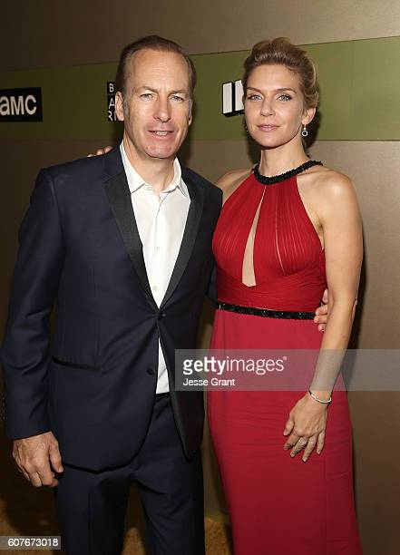 Actor Bob Odenkirk and actress Rhea Seehorn attend AMC Networks Emmy Party at BOA Steakhouse on September 18 2016 in West Hollywood California
