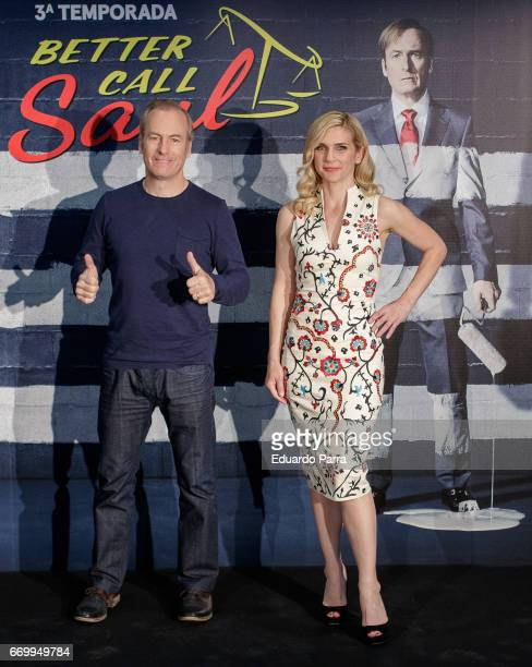 Actor Bob Odenkirk and actress Rhea Seehorn attend the 'Better call Saul' photocall at Telefonica flagship store on April 18 2017 in Madrid Spain