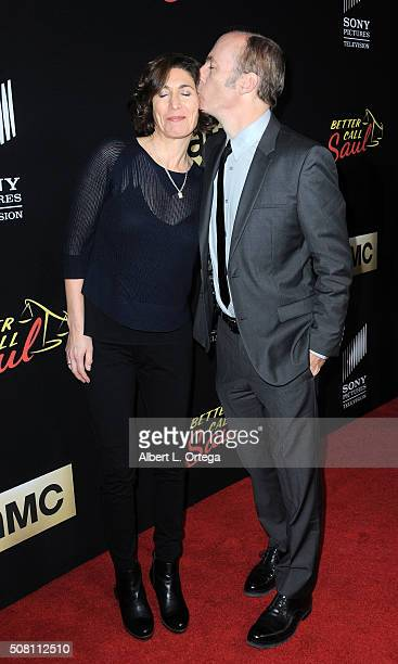 Actor Bob Odenkirk and wife Naomi Odenkirk arrive for the Premiere Of AMC's 'Better Call Saul' Season 2 held at ArcLight Cinemas on February 2 2016...