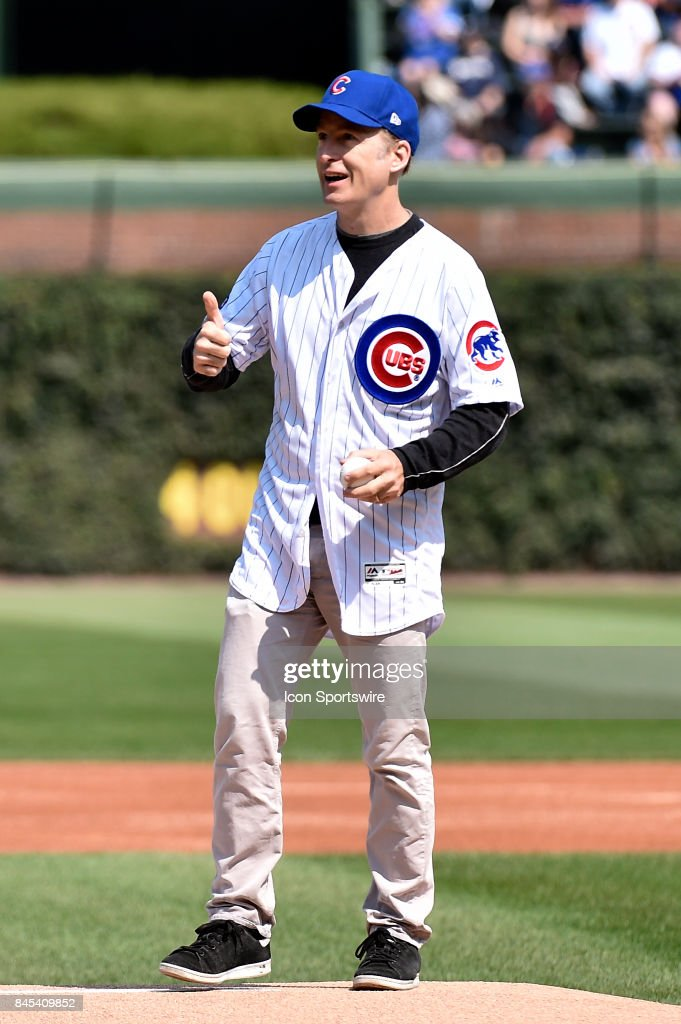 Actor Bob Odenkirk throws out the ceremonial first pitch before the game between the Milwaukee Brewers and the Chicago Cubs on September 10, 2017 at Wrigley Field in Chicago, Illinois.
