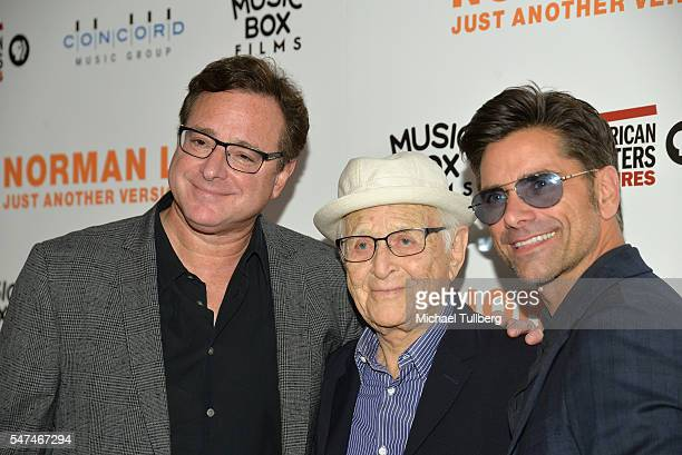 """Actor Bob Saget, producer Norman Lear and actor John Stamos attend the premiere of Music Box Films' """"Norman Lear: Just Another Version Of You"""" at The..."""