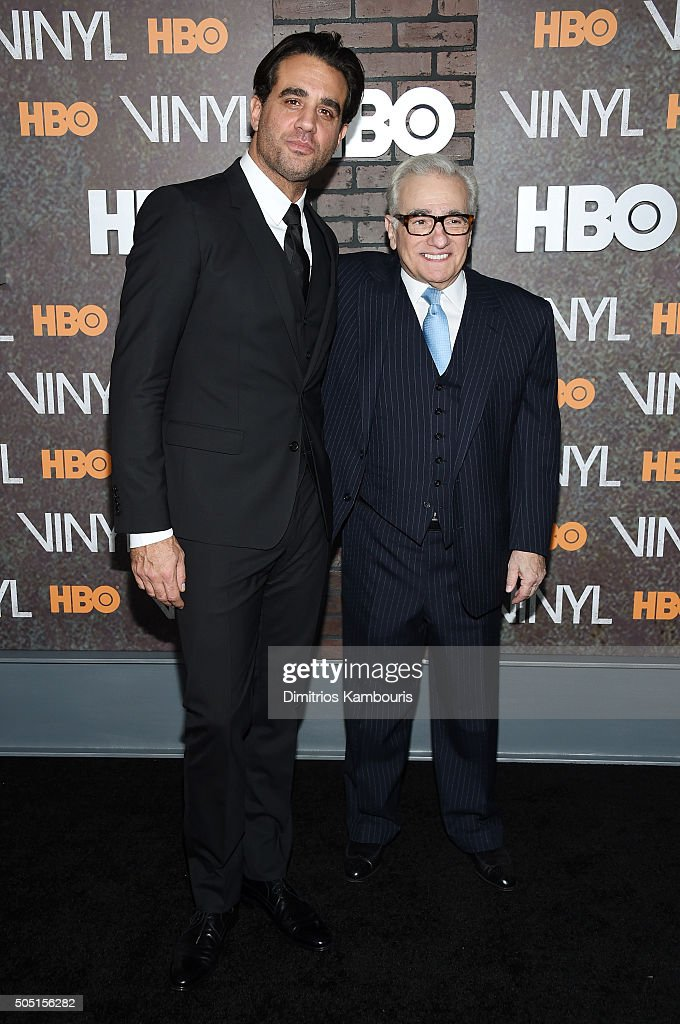Actor Bobby Cannavale (L) and director Martin Scorsese attends the New York premiere of 'Vinyl' at Ziegfeld Theatre on January 15, 2016 in New York City.