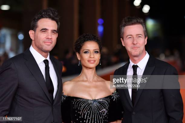 US actor Bobby Cannavale British actress Gugu MbathaRaw and US actor and director Edward Norton arrive for the screening of US crime drama Motherless...