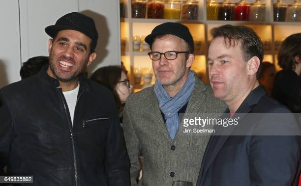 Actor Bobby Cannavale director/actor Tom McCarthy and comedian Mike Birbiglia attend the Metrograph 1st year anniversary party at Metrograph on March...