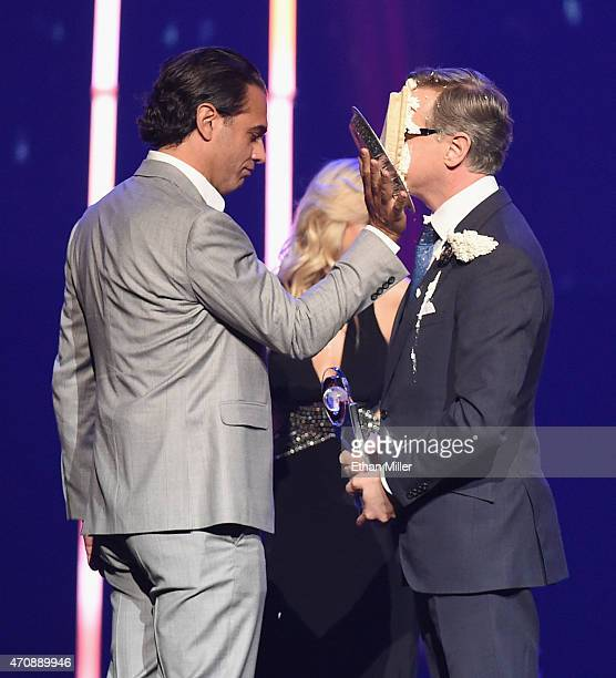 Actor Bobby Cannavale hits director Paul Feig in the face with a pie after Feig accepted the Comedy Filmmaker of the Year Award onstage during The...