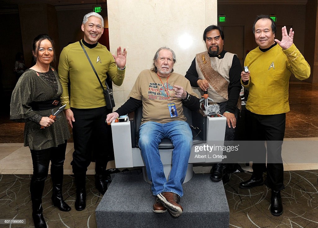 Actor Bobby Clark with Star Trek cosplayers Michelle Wells, Mark Lum, Bill Arucan and David Cheng attend The Hollywood Show held at The Westin Los Angeles Airport on January 7, 2017 in Los Angeles, California.