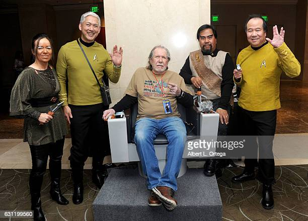 Actor Bobby Clark with Star Trek cosplayers Michelle Wells Mark Lum Bill Arucan and David Cheng attend The Hollywood Show held at The Westin Los...