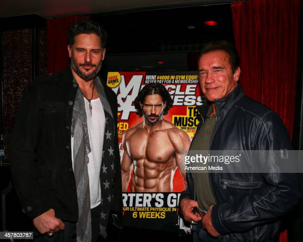 Actor bodybuilder Joe Manganiello and Actor bodybuilder former CA Governor Arnold Schwarzenegger pose for a photo at a Muscle Fitness party with Joe...