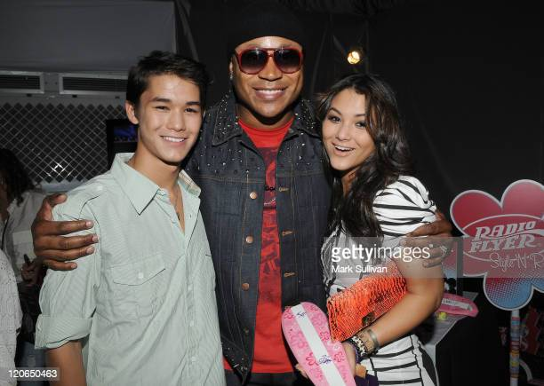 Actor Boo Boo Stewart actor/rapper LL Cool J and actress Fivel Stewart attend Backstage Creations Celebrity Retreat during Teen Choice 2011 day 2 at...