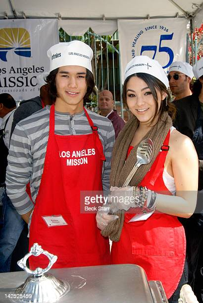 Actor Boo Boo Stewart and actress Fivel Stewart attend Easter for the homeless at Los Angeles Mission at Los Angeles Mission on April 6 2012 in Los...